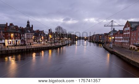 York, United Kingdom. 4 January 2017 : View Of Building Along River Ouse At Night, York, England