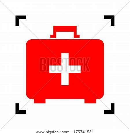 Medical First aid box sign. Vector. Red icon inside black focus corners on white background. Isolated.