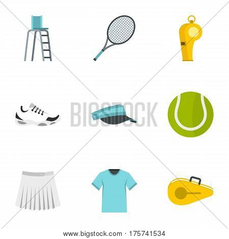 Court tennis icons set. Flat illustration of 9 court tennis vector icons for web