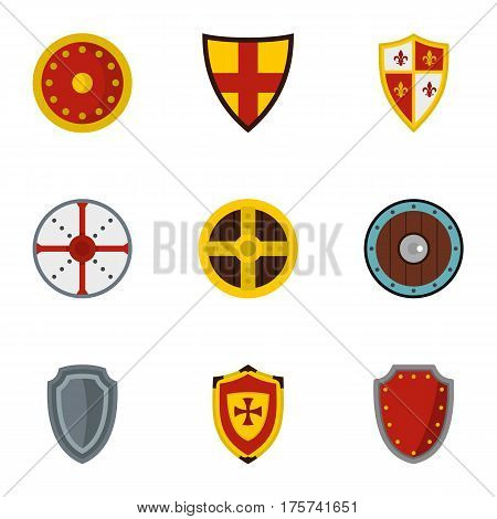 Medieval armour icons set. Flat illustration of 9 medieval armour vector icons for web