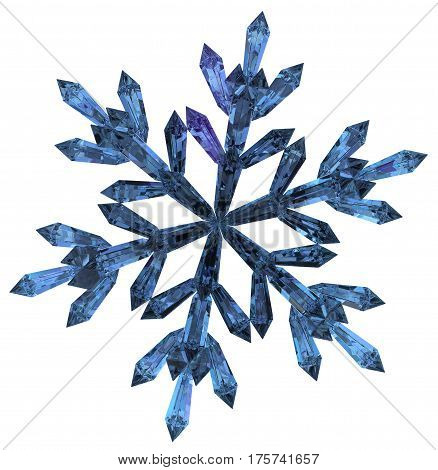 Crystal blue snowflake 3d illustration horizontal isolated over white