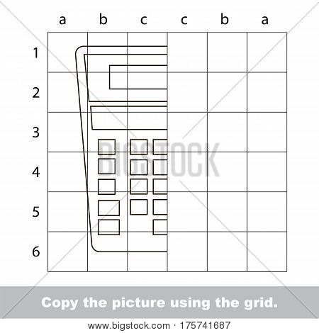 Finish the simmetry picture using grid sells, vector kid educational game for preschool kids, the drawing tutorial with easy gaming level for half of Calculator.