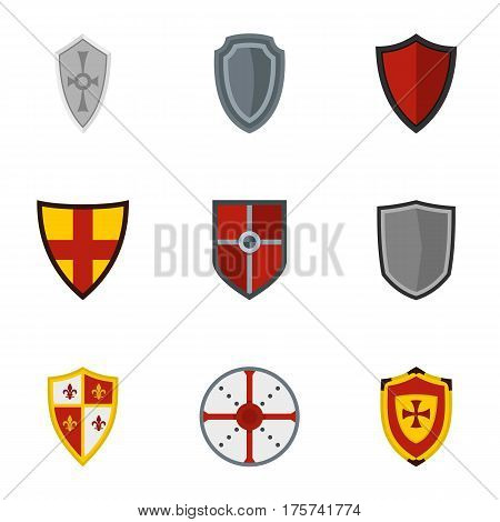 Medieval shield icons set. Flat illustration of 9 medieval shield vector icons for web