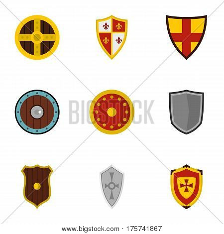 Shield icons set. Flat illustration of 9 shield vector icons for web