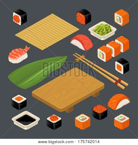 Set Sushi. Bamboo mat chopsticks wasabi soy sauce nigiri rolls and wood serving board. Isolated on dark background. Vector flat color illustration. For icon and menu