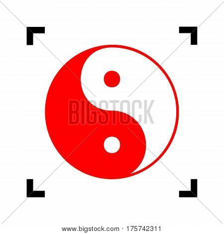 Ying yang symbol of harmony and balance. Vector. Red icon inside black focus corners on white background. Isolated.