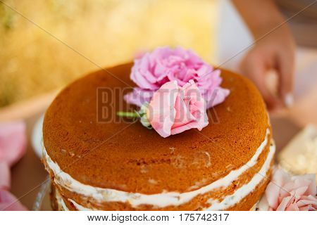 Closeup shot of homemade naked cake decorated with flowers
