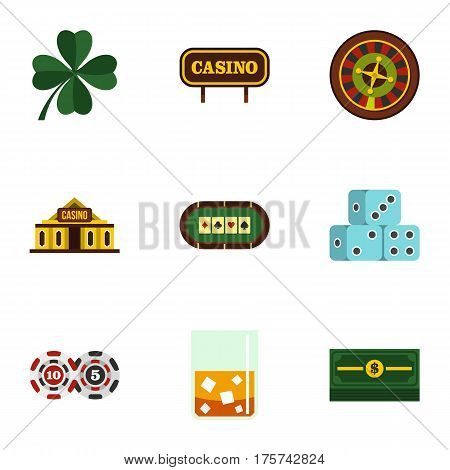 Fortune gambling icons set. Flat illustration of 9 fortune gambling vector icons for web
