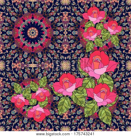 Quarter of the ethnic bandana print with roses in russian style.