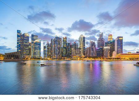 Singapore Skyline, View Of Singapore City At Night In Singapore.