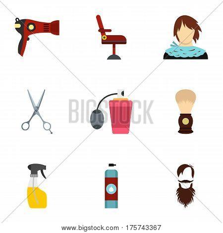 Barbershop icons set. Flat illustration of 9 barbershop vector icons for web