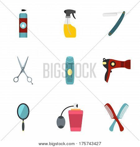 Barber tools icons set. Flat illustration of 9 barber tools vector icons for web