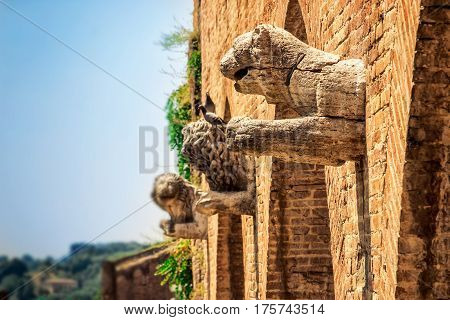 Ancient Stone Sculptures Of Lions On The Wall