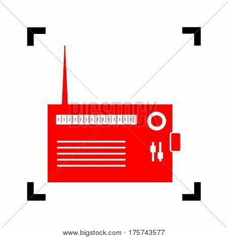 Radio sign illustration. Vector. Red icon inside black focus corners on white background. Isolated.