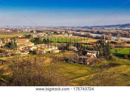 Rural nature landscape in Emilia-Romagna province Italy.