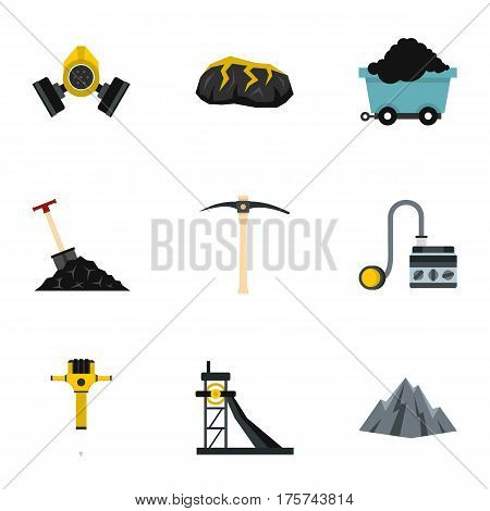 Miner equipment icons set. Flat illustration of 9 miner equipment vector icons for web