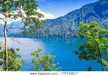View of beautiful Como lake in summer. Scenic place in Italy.