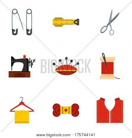 Tailor icons set. Flat illustration of 9 tailor vector icons for web