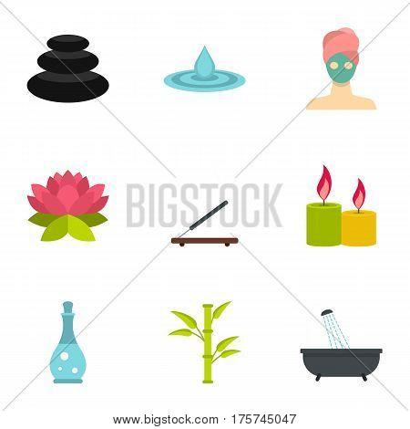 Wellness elements icons set. Flat illustration of 9 wellness elements vector icons for web
