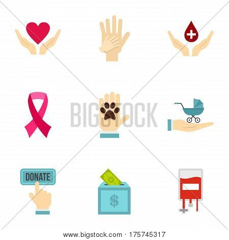 Volunteer center icons set. Flat illustration of 9 volunteer center vector icons for web