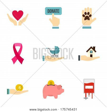 Charity donation organization icons set. Flat illustration of 9 charity donation organization vector icons for web