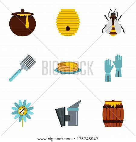 Honey and bee icons set. Flat illustration of 9 honey and bee vector icons for web