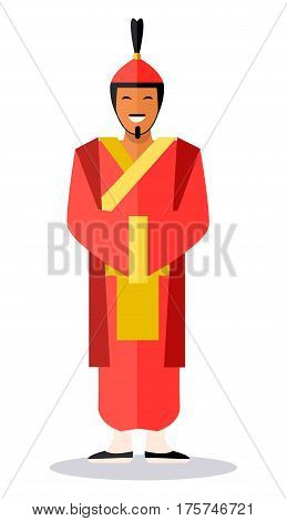 Ancient chinese soldier in reddish clothes on white. Full length portrait of smiling male person in traditional oriental helmet, long clothes and black shoes. Vector illustration of chinese warrior