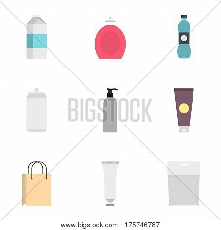 Food, drink, cosmetic package icons set. Flat illustration of 9 food, drink, cosmetic package vector icons for web