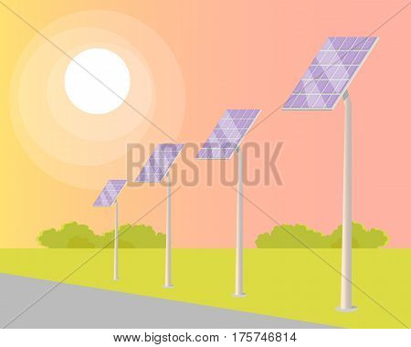 Solar panels on green grass valley turned to shining sun along road on light summer background. Vector illustration of useful economic method that saves money. Solar panels on long grey sticks