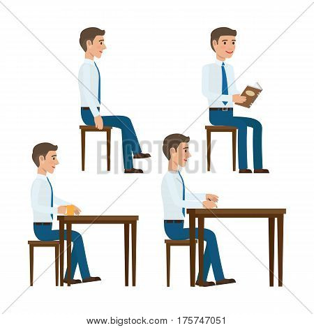 Men in shirt and tie seating on chair at the table with book, cup of coffee and pen in hand flat vector illustrations isolated on white background. Office clerks templates set for business concepts