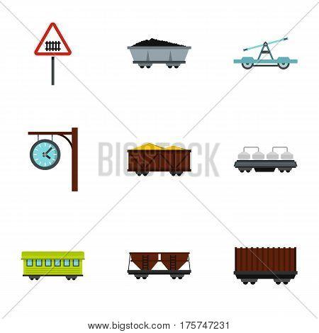 Train, railway , underground icons set. Flat illustration of 9 train, railway , underground vector icons for web