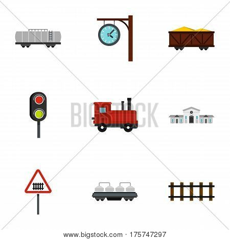 Railway station icons set. Flat illustration of 9 railway station vector icons for web
