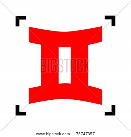 Gemini sign. Vector. Red icon inside black focus corners on white background. Isolated.