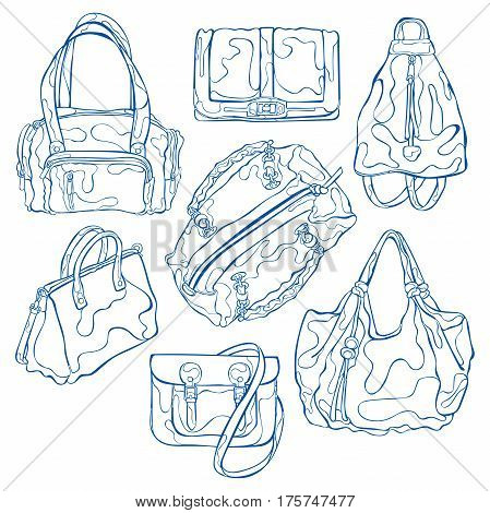 Women's handbags: handbag, backpack, purse, clutch. Isolated vector objects on white background.