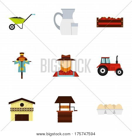 Farming icons set. Flat illustration of 9 farming vector icons for web
