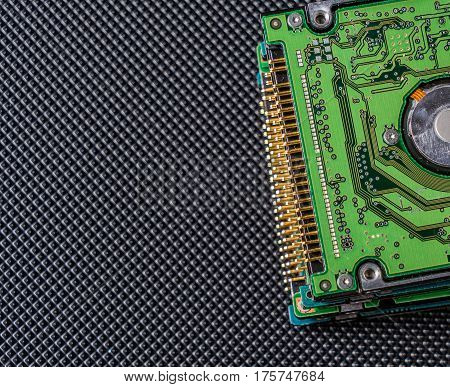 Old Hard Disk Drive On Black Background