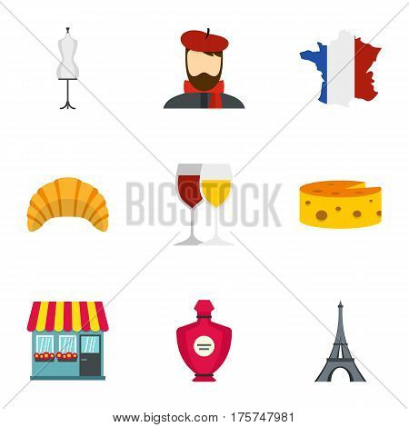 Symbols of France icons set. Flat illustration of 9 symbols of France vector icons for web