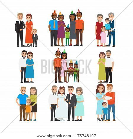 Happy moments in human life collection on white. Hilarious life moments vector set of wedding, Birthday of Children, relationships between family. Smiling family members celebrating holidays together.