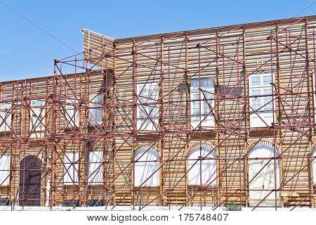Film shooting studio set of old buildings