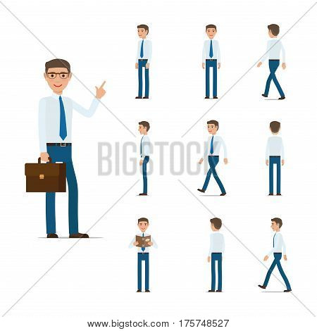 Businessman character collection moving steps. Male with suitcase, book, in motion. Vector poster of man in light shirt, blue tie and trousers in standing and going in cartoon style design