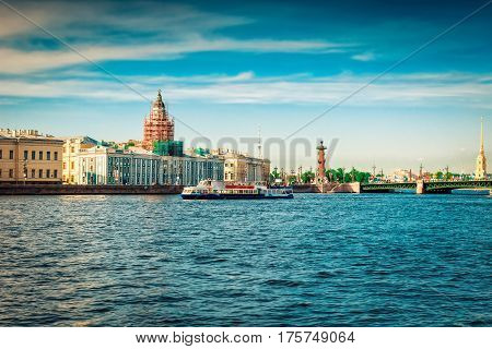 Neva River In Saint Petersburg, Russia
