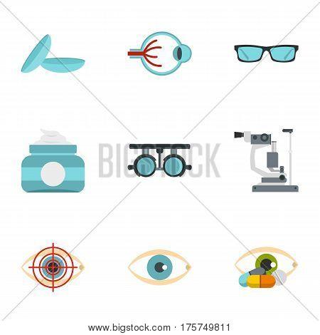 Eye diagnostic icons set. Flat illustration of 9 eye diagnostic vector icons for web