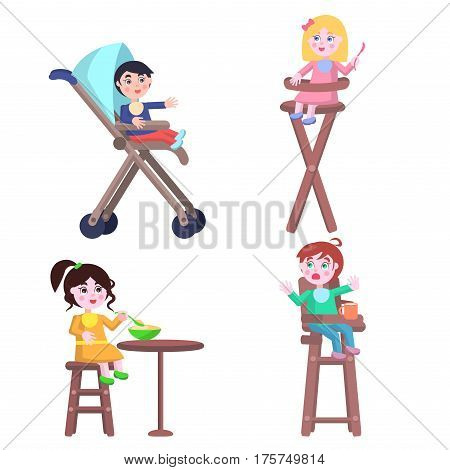Set of different children two boys and two girls who ask for food, eat or cry, three of them sit on highchair and one in baby carriage. Vector illustration set of toddler characters for Mother Day.