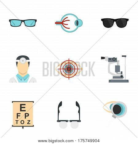 Optometry icons set. Flat illustration of 9 optometry vector icons for web