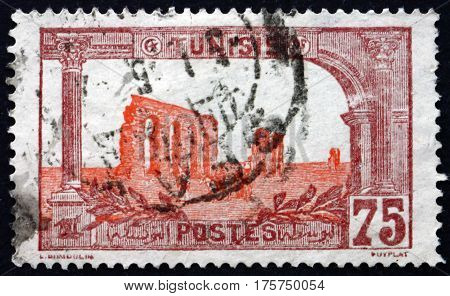 TUNISIA - CIRCA 1906: a stamp printed in Tunisia shows Ruins of Hadrian's aqueduct circa 1906
