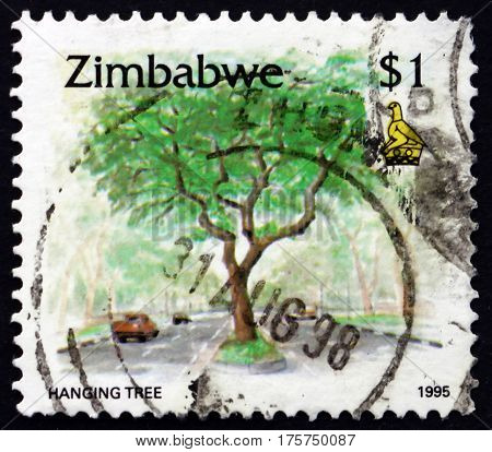 ZIMBABWE - CIRCA 1995: a stamp printed in Zimbabwe shows Hanging tree circa 1995