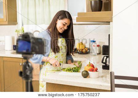 Cute Woman Recording Food Vlog