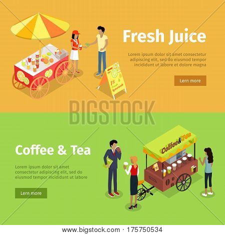 Fresh juice and coffee, tea umbrella carts on yellow and green backgrounds. Colourful stalls with collection of food and drinks, people that buy and sell products in hot summer weather in flat style.