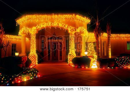 Holiday Lights On House Entryway