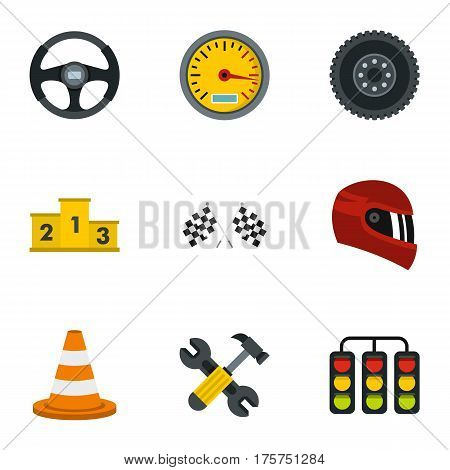 Speed auto championship signs icons set. Flat illustration of 9 vector icons for web